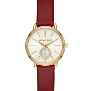Michael Kors Portia Red Leather Strap Watch